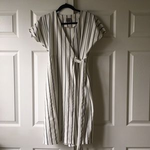Vero Moda White and Black Striped Midi Wrap Dress